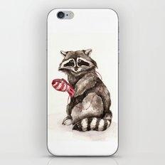 Pensive Raccoon in Red Mittens. Winter Season. iPhone & iPod Skin