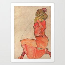 Egon Schiele - Kneeling Female in Orange-Red Dress Art Print