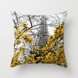 Eiffel Tower yellow flowers Throw Pillow