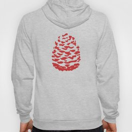 Pinecone Red and White Hoody