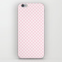 Light Soft Pastel Pink and White Checkerboard iPhone Skin