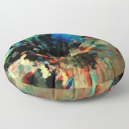 Colorful Landscape Abstract Painting Floor Pillow