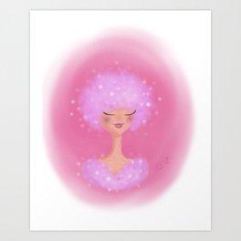 Pink Sparkles Lady Art Print
