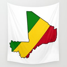 Mali Map with Malian Flag 1 Wall Tapestry