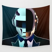 daft punk Wall Tapestries featuring DAFT PUNK by Alli Vanes