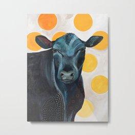Blue Cow Yellow Dots Metal Print