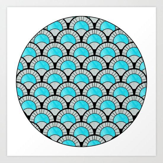 Aqua Art Deco Twenties Fan Pattern Art Print