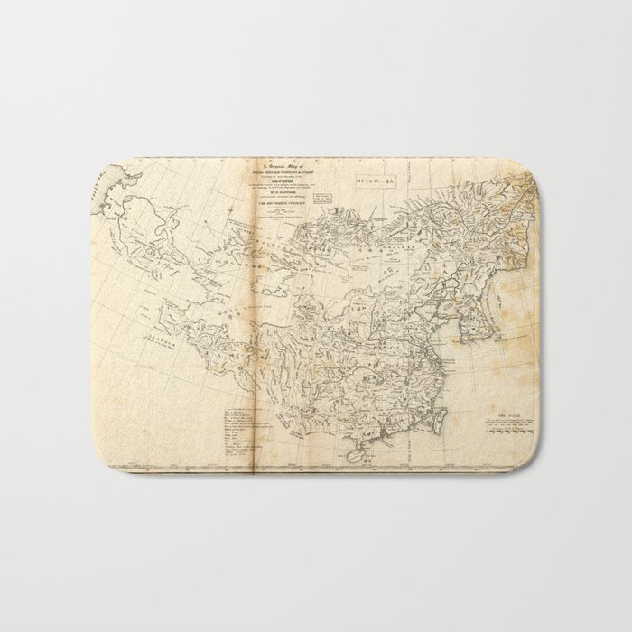 Map of China Chinese-Tartary & Tibet (1834) Bath Mat