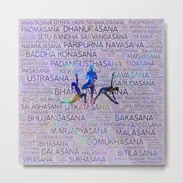 Yoga Asanas/Poses Sanskrit Word Art Metal Print