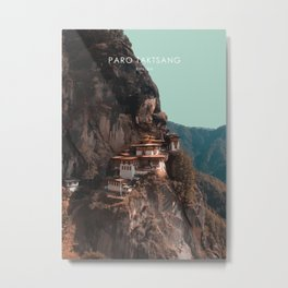 Paro Taktsang, Bhutan Travel Artwork Metal Print