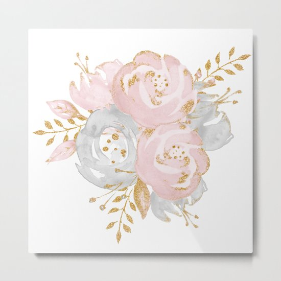 Roses Gold Glitter Pink by Nature Magick Metal Print