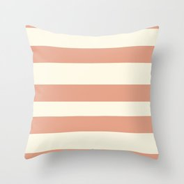 Earthen Trail Pink 4-26 Hand Drawn Fat Horizontal Lines on Dover White 33-6 Throw Pillow