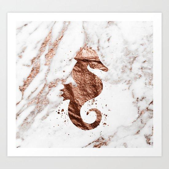 Rose gold seahorse marble Art Print