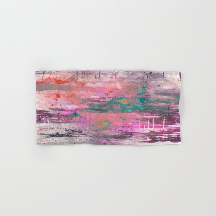Mystical! - Abstract, pink, purple, red, blue, black and white painting Hand & Bath Towel