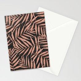 Elegant rose gold Tropical leaves Stationery Cards
