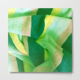Green Stripe Textile Metal Print