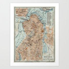 Vintage Map of Boston MA (1906) 2 Art Print