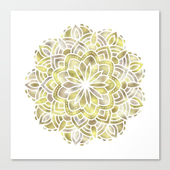 Mandala Multi Metal Yellow Gold Canvas Print