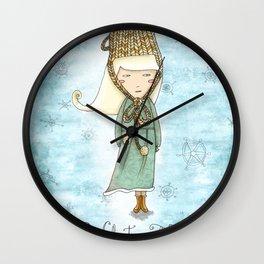 White Tea Girl Wall Clock