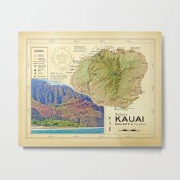 Island of Kauai [vintage inspired] Na Pali Coast road map Metal Print