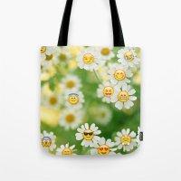 emoji Tote Bags featuring Emoji Garden by jajoão