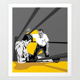 boxer knockout referee counting Art Print