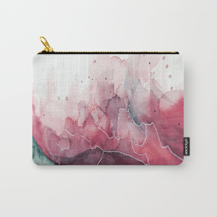 Watercolor pink & green, abstract texture Carry-All Pouch