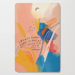 Find Joy. The Abstract Colorful Florals Cutting Board