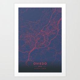 Oviedo, Spain - Neon Art Print