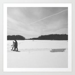 Walking in the Snow Art Print