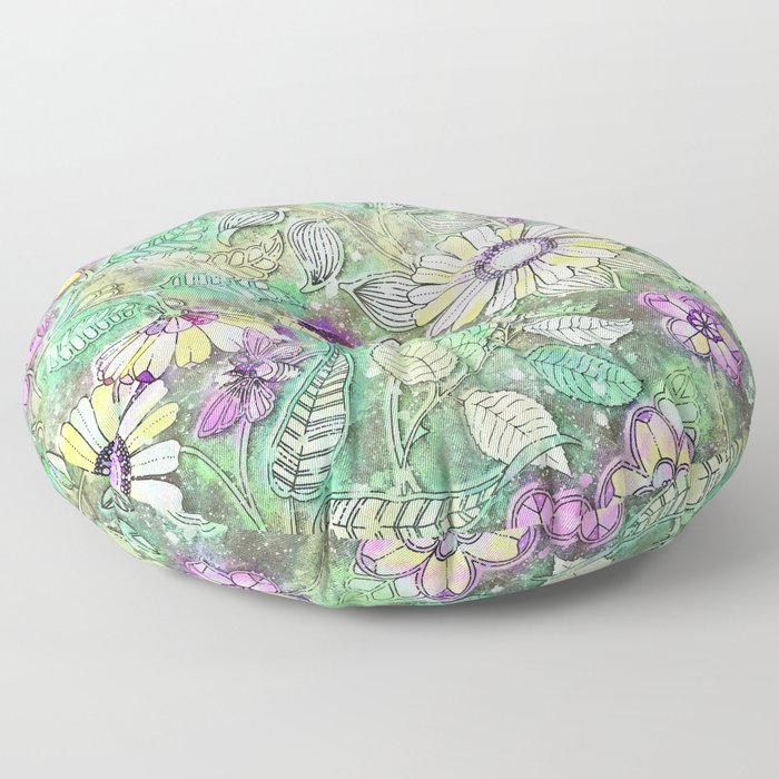 Retro Boho Daisy Floral Floor Pillow