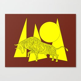 yellow geometric composition on the brown with bull Canvas Print