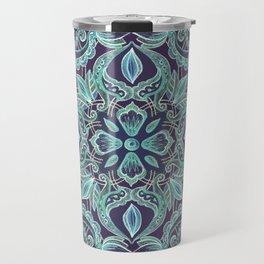 Chalkboard Floral Pattern in Teal & Navy Travel Mug