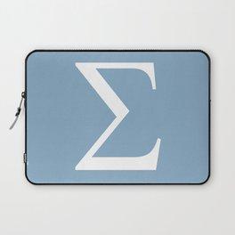Greek letter Sigma sign on placid blue background Laptop Sleeve