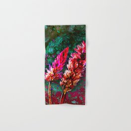 359 15 Abstract Pink Cattails Hand & Bath Towel