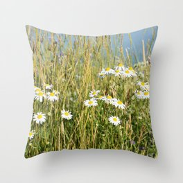 Wildflowers along the lake Throw Pillow