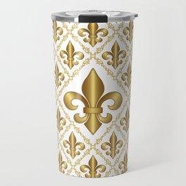 Gold Fleur-de-Lis Pattern Travel Mug