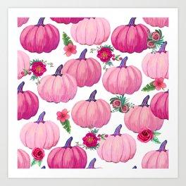pink pumpkin fall watercolor, Thanksgiving Art Print
