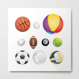 Sport Balls Metal Print