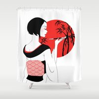 geisha Shower Curtains featuring Geisha by Tenshidream