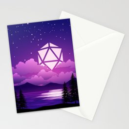 D20 Dice Moon Over Clouds Purple Night Tabletop RPG Landscape Stationery Cards
