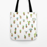 cacti Tote Bags featuring Cacti by Yardia