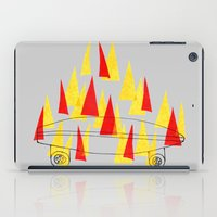 skateboard iPad Cases featuring Flaming Skateboard by marcusmelton