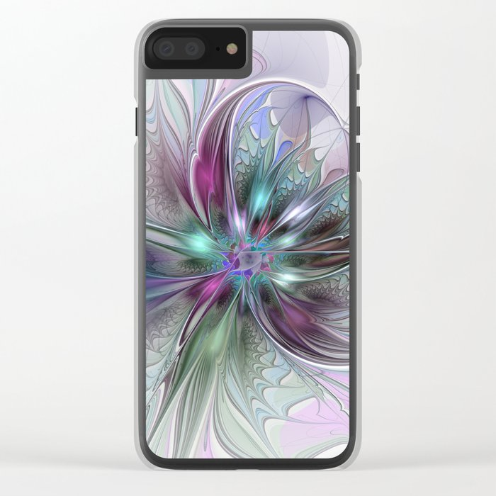 Colorful Fantasy Abstract Modern Fractal Flower Clear iPhone Case