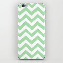Celadon - green color - Zigzag Chevron Pattern iPhone Skin