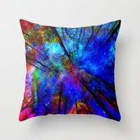 decal Throw Pillows featuring Colorful forest by haroulita