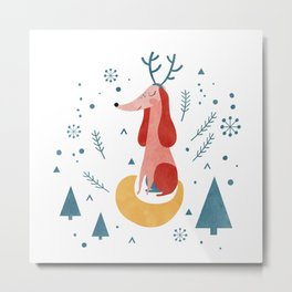 Merry Christmas Dog Card 1 Metal Print