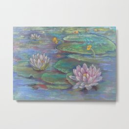 WATER LILIES Pastel drawing Zen style Landscape Yoga room decor Metal Print