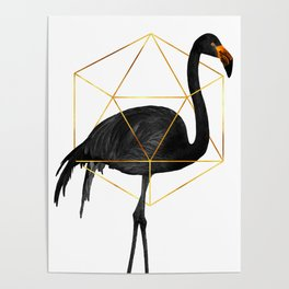 Black Flamingo - Tropical Wall Decor - Flamingo Posters - Exotic, Black, Gold, Modern, Minimal Poster