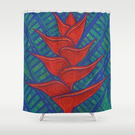 Heliconia, Red Green Blue Shower Curtain